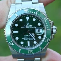 Rolex Ss Submariner Watch Green On Green Ceramic 116610lv Box...