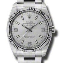 Rolex Air-King White Gold Fluted Bezel 114234 slio