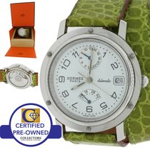 Hermès Paris Clipper CL5.710 Steel Leather Power Reserve GMT...