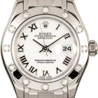 Rolex Datejust Pearlmaster 29 80319 White Roman Diamond Set...