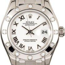 Rolex Datejust Pearlmaster 29 80319 White Roman Diamond Set...