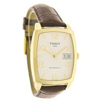 Tissot Mens Sculpture 18K Gold Brown Leather Swiss Automatic...
