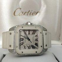 Cartier Santos 100 Midsize Steel Diamonds White Roman Dial...