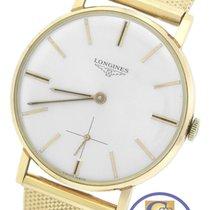 Longines 18K Yellow Gold Silver Stick Hand-Winding Swiss Watch