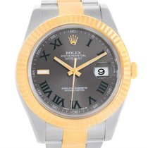 Rolex Datejust Ii Steel 18k Yellow Gold Grey Dial Watch 116333...