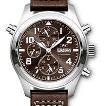 IWC IW371808 Pilots Double Chronograph in Steel - On Brown...