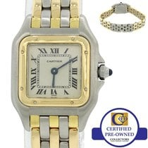 Cartier Panthere 18k Yellow  Gold Steel 3 Row Two Tone 24mm Watch
