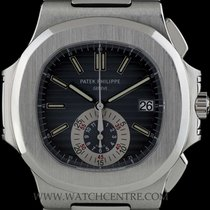 Patek Philippe S/Steel Black-Blue Dial Flyback Nautilus Chrono...