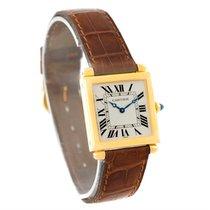 Cartier Tank Obus 18k Yellow Gold Brown Strap Quartz Watch