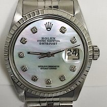 Rolex Mens Rolex Oyster Datejust Stainless Steel Mother Of...