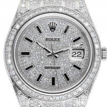 Rolex Datejust II Custom Stahl 18kt Weißgold Full Diamond 14ct...
