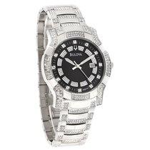 Bulova Mens Crystal Black Dial Stainless Quartz Watch 96B176