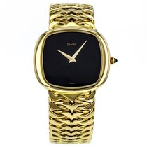 Piaget 18k Solid Yellow Gold Hand-winding Black Dial Watch 9453