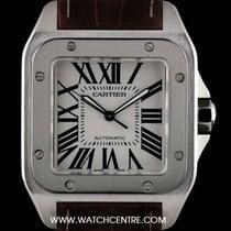 Cartier S/S Silver Roman Dial Large Size Santos 100 B&P...