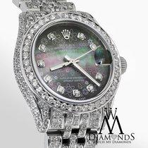 Rolex Diamond Ladies Rolex Datejust 26mm Stainless Steel Black...