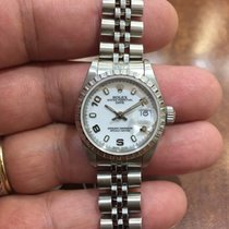 Rolex Ladies Date Stainless Steel Watch 69240 White Arabic Dial