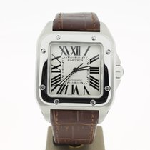 Cartier Santos 100 XL Steel (B&P2012) 38mm Brow leather