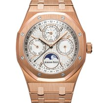 Audemars Piguet Royal Oak Perpetual Calendar Rose Gold White Dial