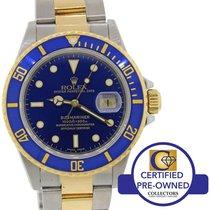 Rolex Submariner 16803 Steel 18k Gold Two Tone Blue Diver Watch