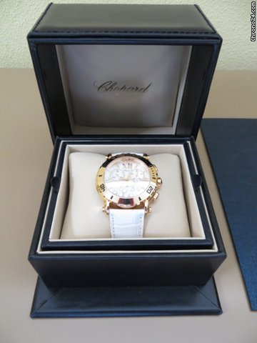 Chopard &amp;#39;&amp;#39;HAPPY SPORT CHRONOGRAPH&amp;#39;&amp;#39;750 ROSE/5-BRILL./1SAFIR/KROKO