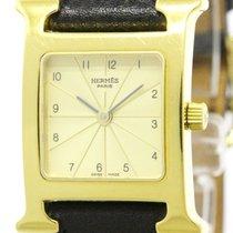 Hermès H Watch Gold Plated Leather Quartz Ladies Watch Hh1.201...