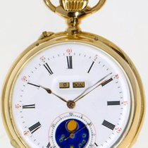 Astronomical pocket watch with calendar and moon phase 18k...
