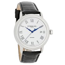 Raymond Weil Maestro Mens White Dial Black Leather Band Watch...