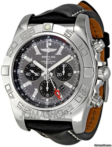 Breitling Chronomat GMT Black Dial Black Leather Mens Watch AB041012-F556BKLT