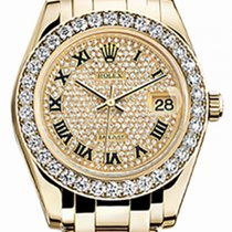 Rolex Pearlmaster 34 81298 Diamond Paved Roman Diamond Bezel...