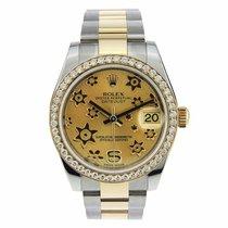 Rolex Datejust 18k Yellow Gold Champagne Flower 31 MM Dimonds