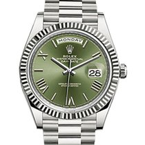 Rolex Day-Date 40 228239 Olive Green Roman White Gold Presiden...