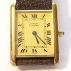 Cartier 18K Gold Vermeil Tank Watch w/ Creme Roman Dial