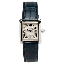 Cartier Tank Francaise White Gold on Blue Leather Strap