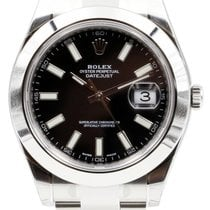 Rolex Datejust II 116300 Index Black 41mm Domed Stainless...