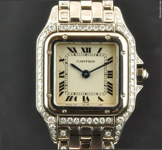 Cartier 18k White Gold Diamond Set Case Ladies Panthere B&P