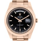 Rolex 218238 Day Date II 18k Rose Gold Black Dial Watch