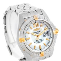 Breitling Windrider Cockpit Mens Steel 18k Yellow Gold Watch...