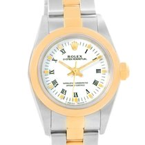 Rolex Nondate Steel 18k Yellow Gold White Dial Ladies Watch 76183