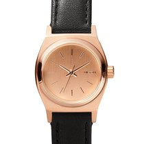 Nixon A509-1932 Small Time Teller Leather All Rose Gold Black...