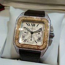 Cartier Santos 100 XL Chronograph 2 tone with 3rd party diamonds