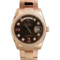 Rolex Day-Date 36 118205-BRNDDO Chocolate Diamond Ruby Rose...