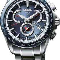 Seiko Astron GPS Solar Dual Timer-Blau Silber