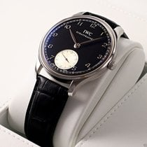 IWC Portuguese Hand Wound IW545404 Black Dial Steel COMPLETE New
