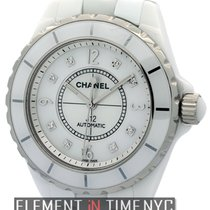 Chanel J12 White Ceramic 38mm Automatic MOP Diamond Dial Ref....