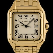 Cartier 18k Yellow Gold Cream Roman Dial Panthere Gents