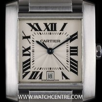 Cartier Stainless Steel Silver Roman Dial Tank Francaise Gents...