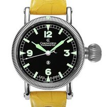 Chronoswiss Timemaster - Black Dial - Yellow Crocodile Leather...
