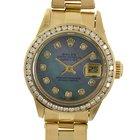 Rolex Ladies 18k President Diamond Bezel Dial Black Mother Of...