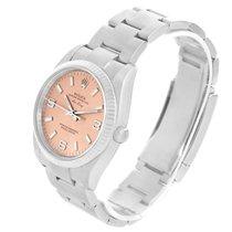 Rolex Air King Steel 18k White Gold Salmon Dial Watch 114234