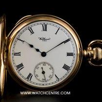 Waltham 9k Y/G White Roman Dial Half Hunter Vintage Pocket Watch